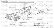 26025 - housing assembly, head lamp RH - BNR32 Nissan Skyline GT-R