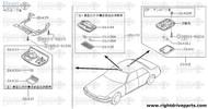 26412M - seat, room lamp - BNR32 Nissan Skyline GT-R