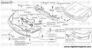 62217 - bracket, front bumper stay LH - BNR32 Nissan Skyline GT-R