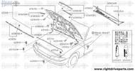 65401 - hinge assembly, hood LH - BNR32 Nissan Skyline GT-R