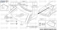 72813 - molding, windshield side LH - BNR32 Nissan Skyline GT-R