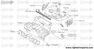 74516 - extension, rear floor front - BNR32 Nissan Skyline GT-R