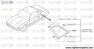 83301M - glass assembly, side window LH - BNR32 Nissan Skyline GT-R