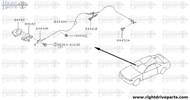 84440M - cable, trunk lid & gas filler opener - BNR32 Nissan Skyline GT-R