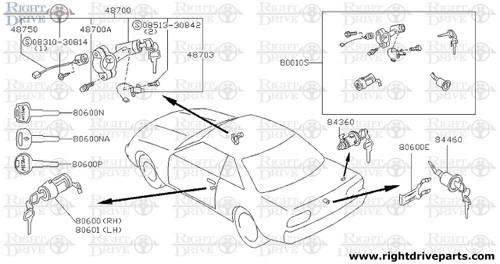 84460 - cylinder set, trunk lid lock - BNR32 Nissan Skyline GT-R