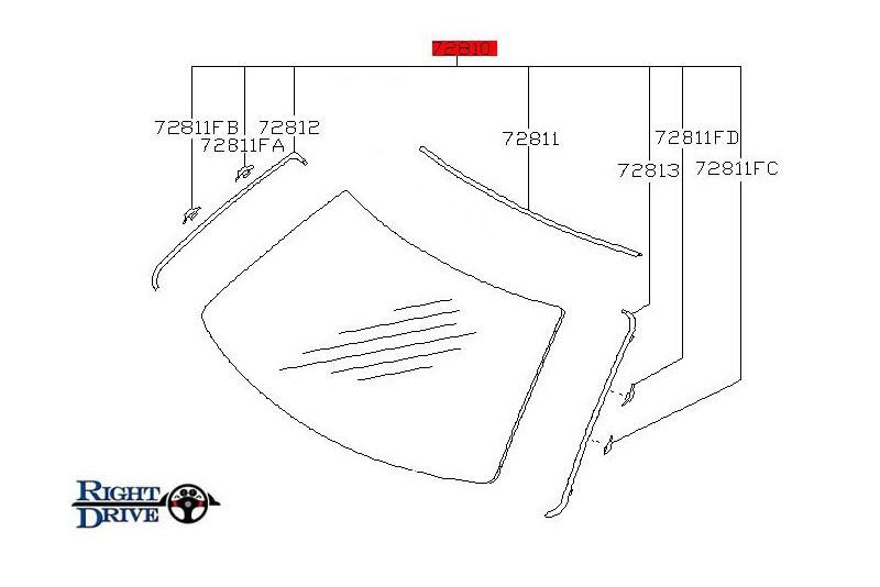 Nissan Skyline Windshield Moulding Kit