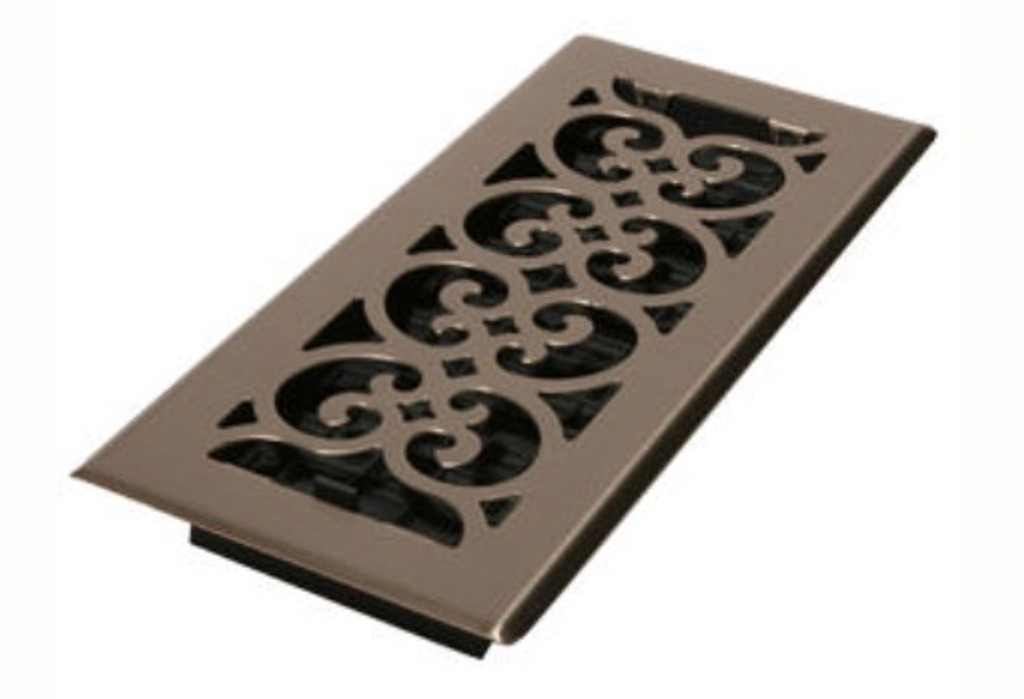 "Decor Grates 4"" x 8"" Brushed Satin Nickel Floor Register"