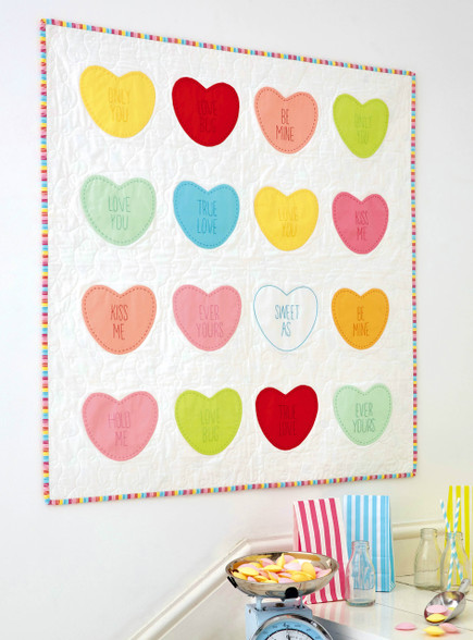 "Life is Sweet - Candy Quilt.  Just like the Candy this Quilt is so sweet.  Stitch out your favourite ""Love"" sayings."