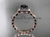 14k rose gold diamond vine and leaf wedding ring, engagement ring with  Black Diamond center stone ADLR35