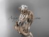 14k rose gold diamond leaf and vine wedding ring set, engagement ring set ADLR31S