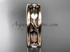 14kt rose gold diamond leaf wedding band, engagement ring ADLR401B