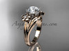 """14k rose gold diamond leaf and vine wedding ring, engagement ring with a """"Forever One"""" Moissanite center stone ADLR159"""