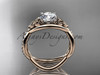 14kt rose gold celtic trinity knot engagement ring, wedding ring CT790
