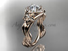 """14k rose gold diamond unique leaf and vine, floral engagement ring with a """"Forever One"""" Moissanite center stone ADLR327"""