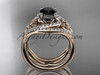 14kt rose gold diamond celtic trinity knot wedding ring, engagement ring with a Black Diamond center stone and double matching band CT7320S