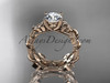 """14kt rose gold diamond celtic trinity knot wedding ring, engagement ring with a """"Forever One"""" Moissanite center stone CT7215S"""