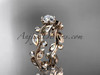 """14k rose gold diamond floral leaf and vine wedding ring, engagement ring with a """"Forever One"""" Moissanite center stone ADLR1"""