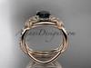 14k rose gold diamond leaf and vine wedding ring, engagement set with a Black Diamond center stone ADLR90S