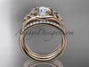 """14kt rose gold diamond celtic trinity knot wedding ring, engagement ring with a """"Forever One"""" Moissanite center stone and double matching band CT7126S"""