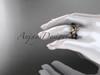 14k rose gold diamond leaf and vine wedding ring, engagement set with  Black Diamond center stone ADLR59S