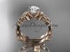 14kt rose gold celtic trinity knot wedding ring, engagement set CT7238S