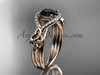 14kt rose gold celtic trinity knot engagement ring ,diamond wedding ring with  Black Diamond center stone CT785