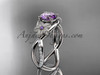14kt white gold diamond leaf and vine birthstone ring ADLR90 Amathyst - February\'s Birthstone