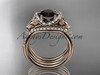 14kt rose gold diamond celtic trinity knot wedding ring, engagement ring with a Black Diamond center stone and double matching band CT7155S