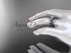 14k white gold diamond leaf and vine wedding ring, engagement ring, engagement set ADLR151S