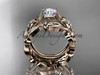 """14k rose gold diamond floral wedding set, engagement set with a """"Forever One"""" Moissanite center stone ADLR216S"""