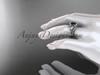 14k white gold diamond leaf and vine wedding ring, engagement set with a Black Diamond center stone ADLR317S