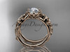 """14kt rose gold celtic trinity knot engagement ring , wedding ring with a """"Forever One"""" Moissanite center stone CT766"""