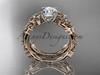 14kt rose gold celtic trinity knot engagement set, wedding ring CT759S