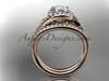 14k rose gold diamond leaf and vine wedding ring, engagement set ADLR317S