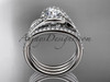 """14k white gold diamond leaf  wedding ring with a """"Forever One"""" Moissanite center stone and double matching band ADLR317S"""