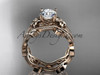 """14k rose gold diamond leaf and vine wedding ring, engagement ring, engagement set with a """"Forever One"""" Moissanite center stone ADLR151S"""