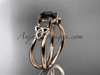 14kt rose gold celtic trinity knot wedding ring, engagement ring with a Black Diamond center stone CT7130
