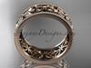 14k rose gold diamond leaf and vine wedding band,engagement ring ADLR10B