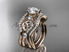 """14kt rose gold celtic trinity knot engagement ring, wedding ring with a """"Forever One"""" Moissanite center stone and double matching band CT768S"""