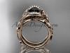 14kt rose gold celtic trinity knot engagement set, wedding ring with Black Diamond center stone CT764S