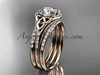 14kt rose gold diamond celtic trinity knot wedding ring, engagement ring with a double matching band CT7126S