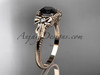 14k rose gold diamond unique engagement ring with a Black Diamond center stone ADLR376
