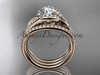 """14k rose gold diamond leaf  wedding ring with a """"Forever One"""" Moissanite center stone and double matching band ADLR317S"""
