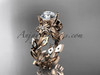 """14k rose gold diamond floral leaf and vine wedding ring, engagement ring with a """"Forever One"""" Moissanite center stone ADLR215"""