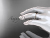 14k rose gold diamond vine wedding ring, engagement ring with Black Diamond  center stone ADLR21A
