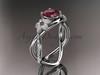 14kt white gold diamond leaf and vine birthstone ring ADLR90 Garnet - January\'s birthstone