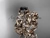 14k rose gold diamond floral wedding set, engagement set with a Black Diamond center stone ADLR216S