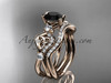 14kt rose gold celtic trinity knot engagement set, wedding ring with a Black Diamond center stone CT768S