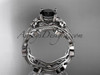 14k white gold diamond leaf and vine wedding ring, engagement ring, engagement set with a Black Diamond center stone ADLR151S
