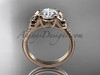 14kt rose gold diamond unique engagement ring, butterfly ring, wedding ring ADLR514